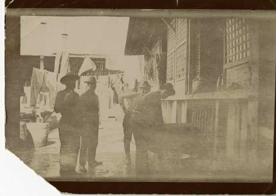 photograph of soldiers doing laundry