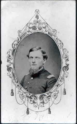 Black and white Carte-de-visite of Loren Webb, Captain, Eleventh Minnesota Infantry Regiment, Company D. c.1861-1865.