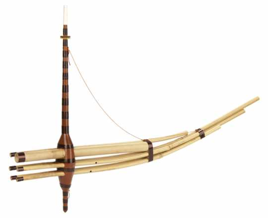 Color image of a Qeej (Hmong wind instrument) made by Shong Ger Thao of St. Paul in 1999.