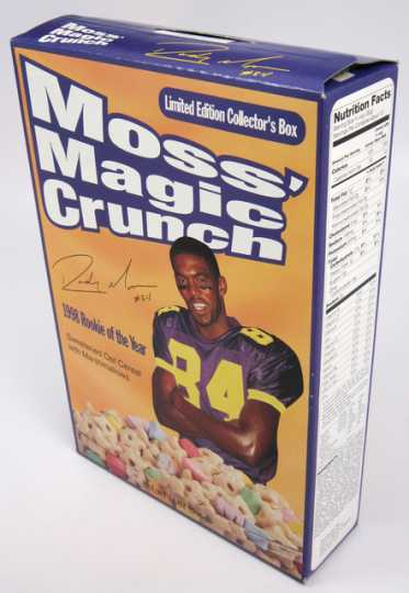 Color image of Randy Moss's Magic Crunch cereal box, 1999.