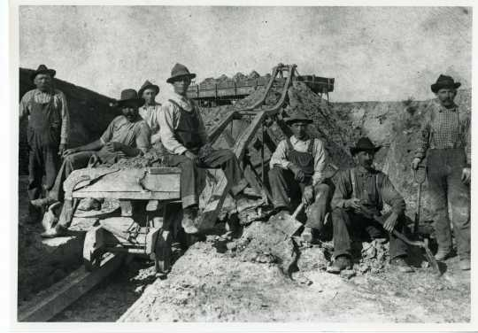 photograph of clay miners