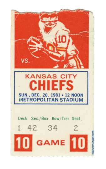 Paper ticket to football game between the Minnesota Vikings and the Kansas City Chiefs, 1981.