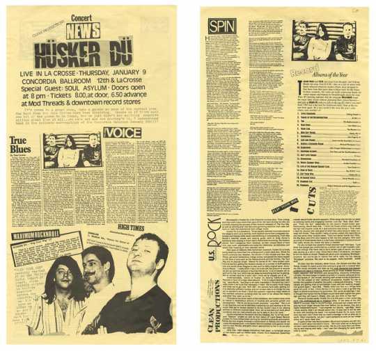 """""""Concert News"""" poster featuring Hüsker Dü"""
