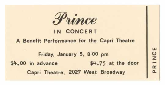 Ticket to first Prince concert