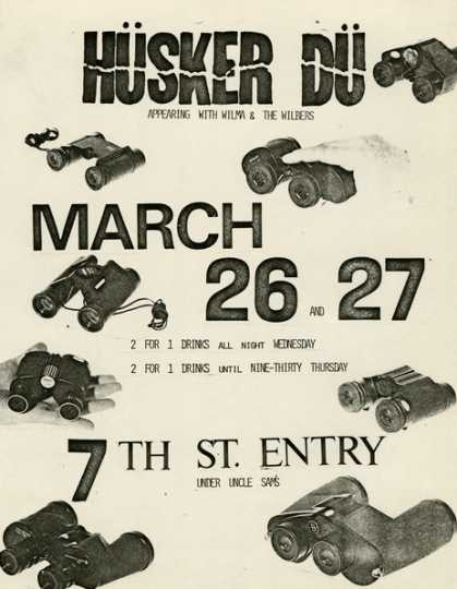 Handbill for Hüsker Dü and Wilma and the Wilbers concert at 7th Street Entry, Minneapolis, Minnesota, 1980. Designed by Grant Hart.