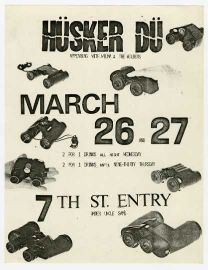 Handbill for Hüsker Dü and Wilma and the Wilbers concert
