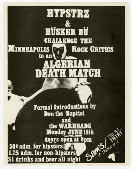Handbill for Hüsker Dü and Hysptrz concert