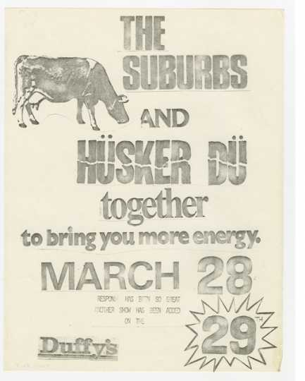 Handbill for Hüsker Dü and The Suburbs concert