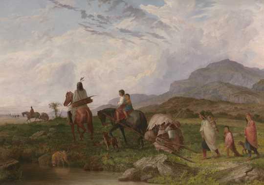 Dakota family using a horse-drawn travois