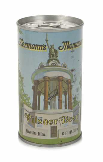 Color image of a Hermann's Monument beer can, ca. 1980.