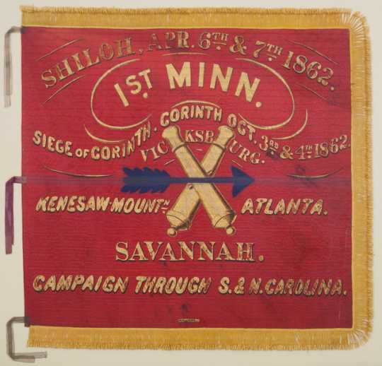 Color image of 1st Battery Minnesota Light Artillery battle flag.