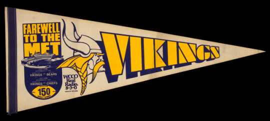 """Farewell to the Met"" Minnesota Vikings pennant, 1981."
