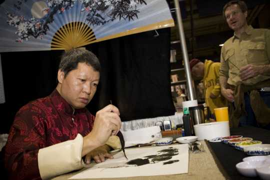 Chinese calligraphy demonstration at the 2008 Festival of Nations