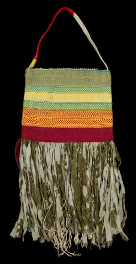 Photograph of a twined bag made by a Somali weaver and elder.