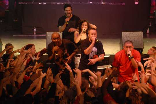 Color image of Doomtree performing at First Avenue, December 6, 2008. Photograph by Daniel Corrigan.