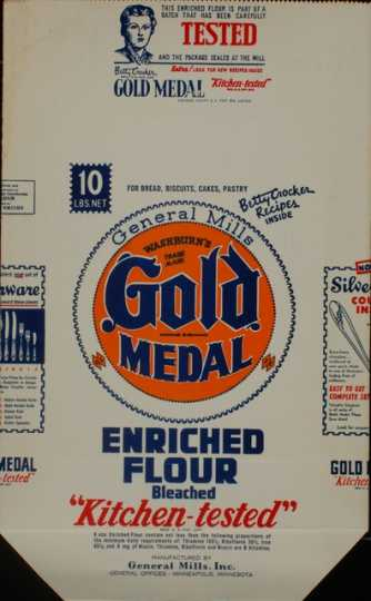 Color image of a Gold Medal Flour Bag, c.1930s.