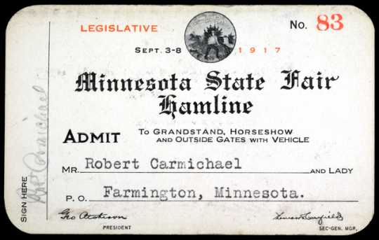 Color scan of a Minnesota State Fair pass, 1917.