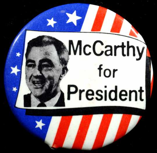 """Color image of a """"McCarthy for President"""" button, 1968."""