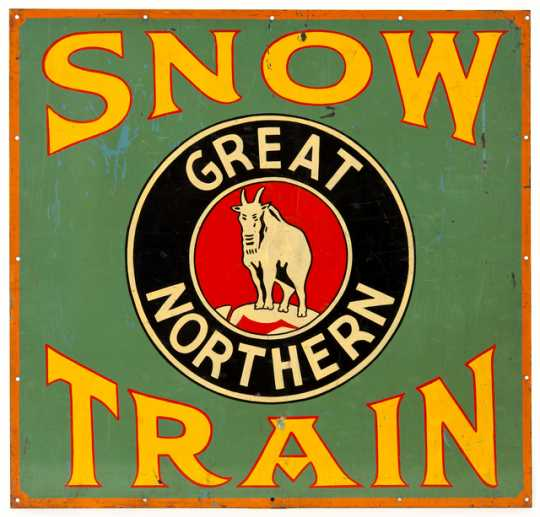 "Color image of a Great Northern Railway ""Snow Train"" sign, ca. 1942"