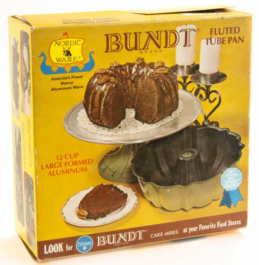 Color image of a cardboard container for the Nordic Ware Bundt jumbo fluted tube pan made of formed aluminum, ca. 1950–1970. Used by Susan Roth in St. Louis Park, Minnesota.