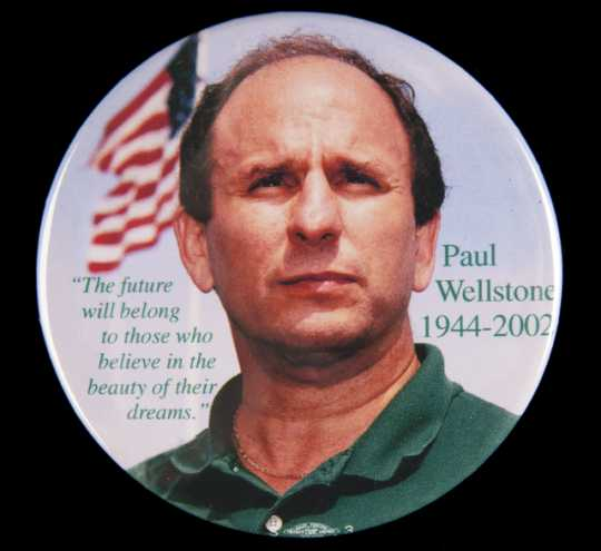 Color image of a pin-back button created to memorialize Paul Wellstone's death in 2002.