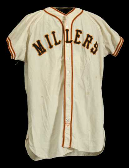 Minneapolis Millers uniform jersey made by Wilson Sporting Goods Company, worn by pitcher Alex Konikowski, 1956.