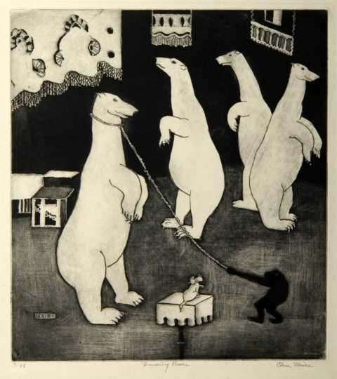 Dancing Bears, undated. Etching on paper by Clara Mairs.