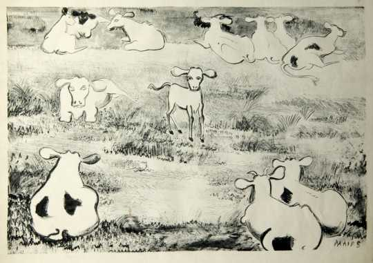 Cows and Calf, undated. Etching on paper by Clara Mairs.