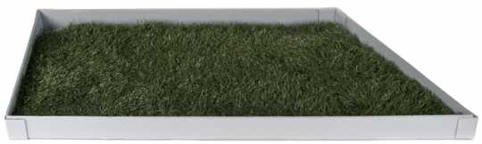 Color image of a section of turf used in the Hubert H. Humphrey Metrodome baseball field, 2013.
