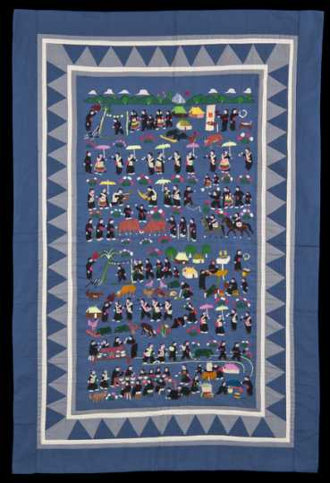 Color image of a Hmong paj ndaub, or story cloth, illustrating Hmong New Year activities. Made in at a refugee camp in Thailand, c.1980.