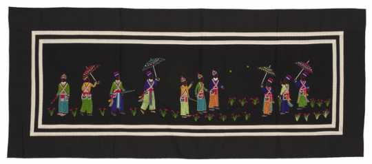 Color image of a Hmong paj ndaub, or story cloth, illustrating Hmong New Year courtship rituals. Made in Ban Vinai, Thailand, c.1988.