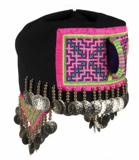 Color image of a Hmong girl's hat in the traditional style. Made in St. Paul in 1989.