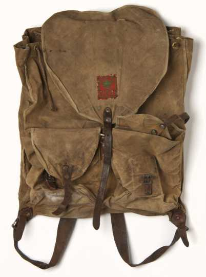 Color image of a Conservation Corps knapsack used by Fred Fretheim, CCC Company 3707, Two Harbors, Minnesota, ca. 1936–1937.