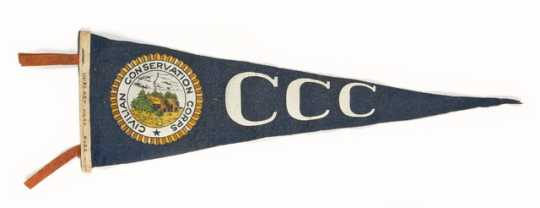 "Color image of a Civilian Conservation Corps pennant owned by Fred Fretheim, ca. 1936–1937. Hand printed on the hoist edge is ""company 2707/Minn/1936-7."""