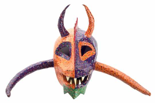 Color image of a papier-mâché vejigante mask made by Puerto Rican-Minnesotan artist and musician Ricardo Gómez c.1995.