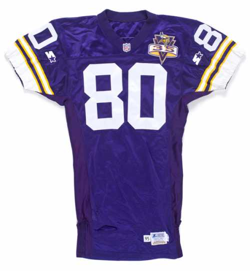 Color image of the home jersey worn by Minnesota Vikings wide receiver Cris Carter in 1995.
