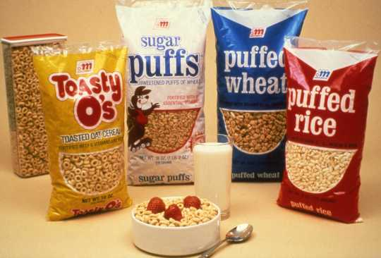 Lineup of ready-to-eat cereals made by the Malt-O-Meal Company, 1981. Used with the permission of Post Consumer Brands and Northfield Historical Society.