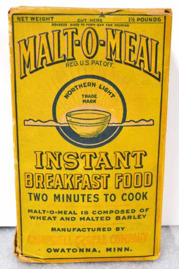 Malt-O-Meal box, ca. 1925. Used with the permission of Northfield Historical Society.
