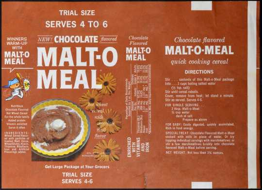 Trial-size box label for then-new Chocolate Malt-O-Meal, 1961. Used with the permission of Post Consumer Brands and Northfield Historical Society.