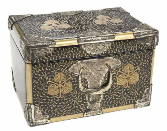Doll trunk with bottom drawer, gold-painted design, and silver hardware