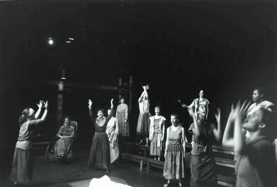 Production photograph from Antigone Too: Rights of Love and Defiance, 1983.