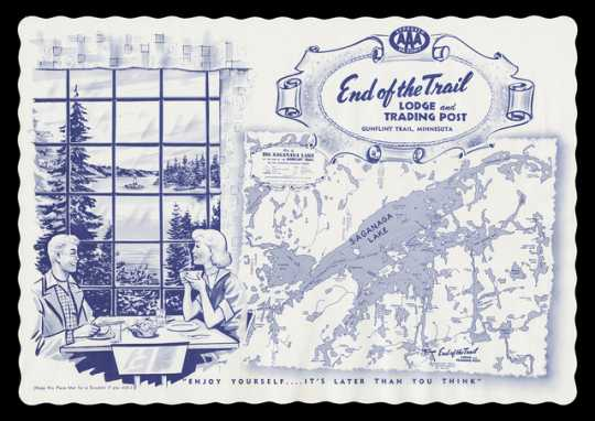 A paper placemat from the End of the Trail Lodge and Trading Post along the Gunflint Trail. Printed by W. A. Fisher Company of Virginia, Minnesota, ca. 1950. It features a blue printed map of Saganaga Lake next to an illustration of a man and woman dining in front of lake scene. The placemat was illustrated by Albin M. Zaverl.