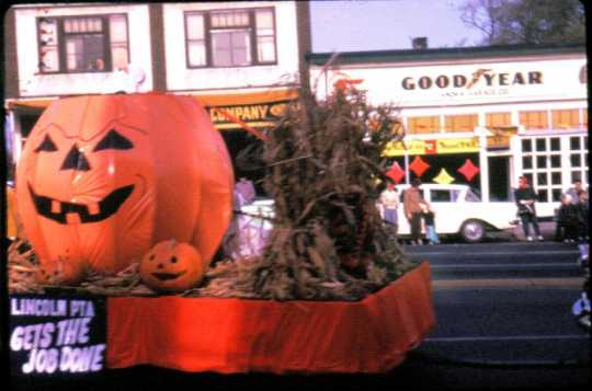 Lincoln School PTA float in the Anoka Halloween Celebration parade, 1961, Minnesota