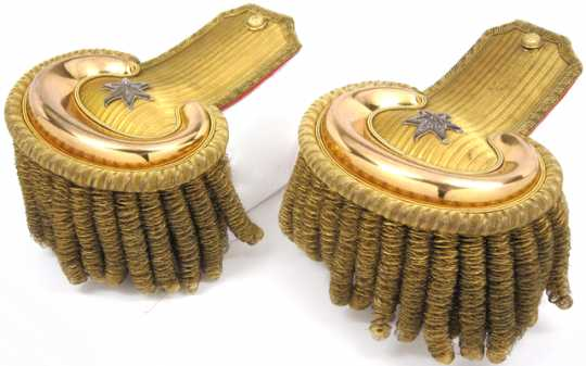 Color image of United States Army officer's epaulettes worn by Brigadier General Henry H. Sibley, 1863.