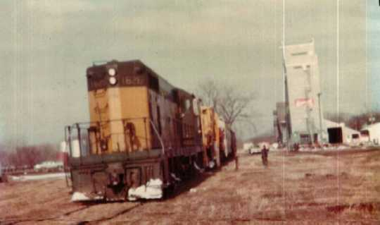Color image of the last train leaves Currie, April 1977.