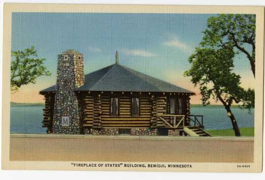 Postcard illustration of the old Paul Bunyan House, Bemidji