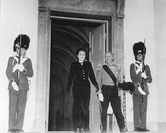 Eugenie Anderson leaving Christiansborg Palace with Lord Chamberlain after presenting credentials to King Frederick IX