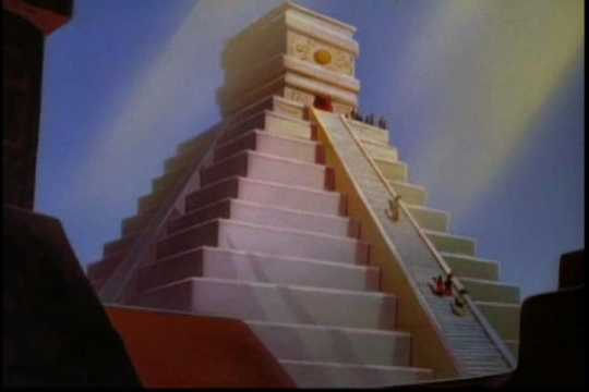 Drawing of a temple built in honor of maize. Used in the Disney film The Grain That Built a Hemisphere, 1943.