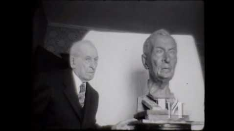 """Film titled """"Albert Woolson."""" It shows a Finnish sculptor, Kalervo Kallio, working on a bust of Albert Woolson, the last surviving Union Army Veteran, who is the live model. Black and white, 16mm, silent film, May 24, 1954. KSTP-TV Archive, Minnesota Historical Society, St. Paul. To view the clip, click the link below."""