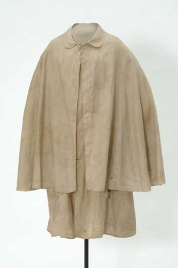 Color image of a linen duster worn by a James-Younger Gang member during the Northfield Bank Raid on September 7, 1876.